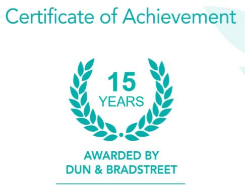 dun & bradstreet certificate of achievement for 15 years.